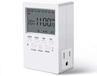 Dual Outlet Timer, Digital Programmable Timer, CANAGROW 7 Day Heavy Duty Indoor Plug-in Timer for Electric Outlets, Wall Timer Switch for Appliances, 15A/1800W Grounded