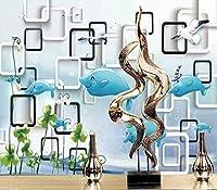 YCRY-壁紙優しい白いイルカ3D子供の装飾 -壁の装飾-ポスター画像写真-HD印刷-現代の装飾-壁画-400x280cm