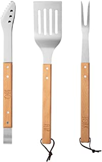 Rae Dunn Everyday Collection 3 Piece Barbecue Utensil Set, Barbeque Tongs with Serrated Tips, Spatula, and Fork, Stainless...