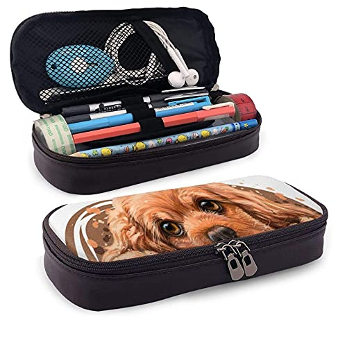 XCNGG Kosmetiktasche mit Federmäppchen American Cocker Spaniel Sticker On WallLeather Pencil case, Waterproof, Fashionable and Durable, can be Used for Students, Schools, Offices, Colleges
