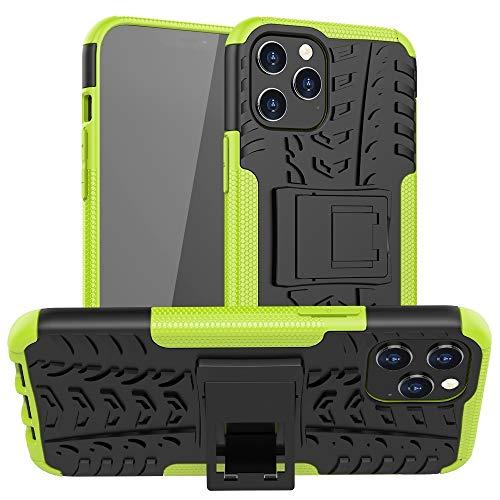 Fulvit para Funda Protectora TPU + PC de Textura de neumáticos con Soporte for iPhone 12 Pro MAX Casos antiedad (Color : Green)