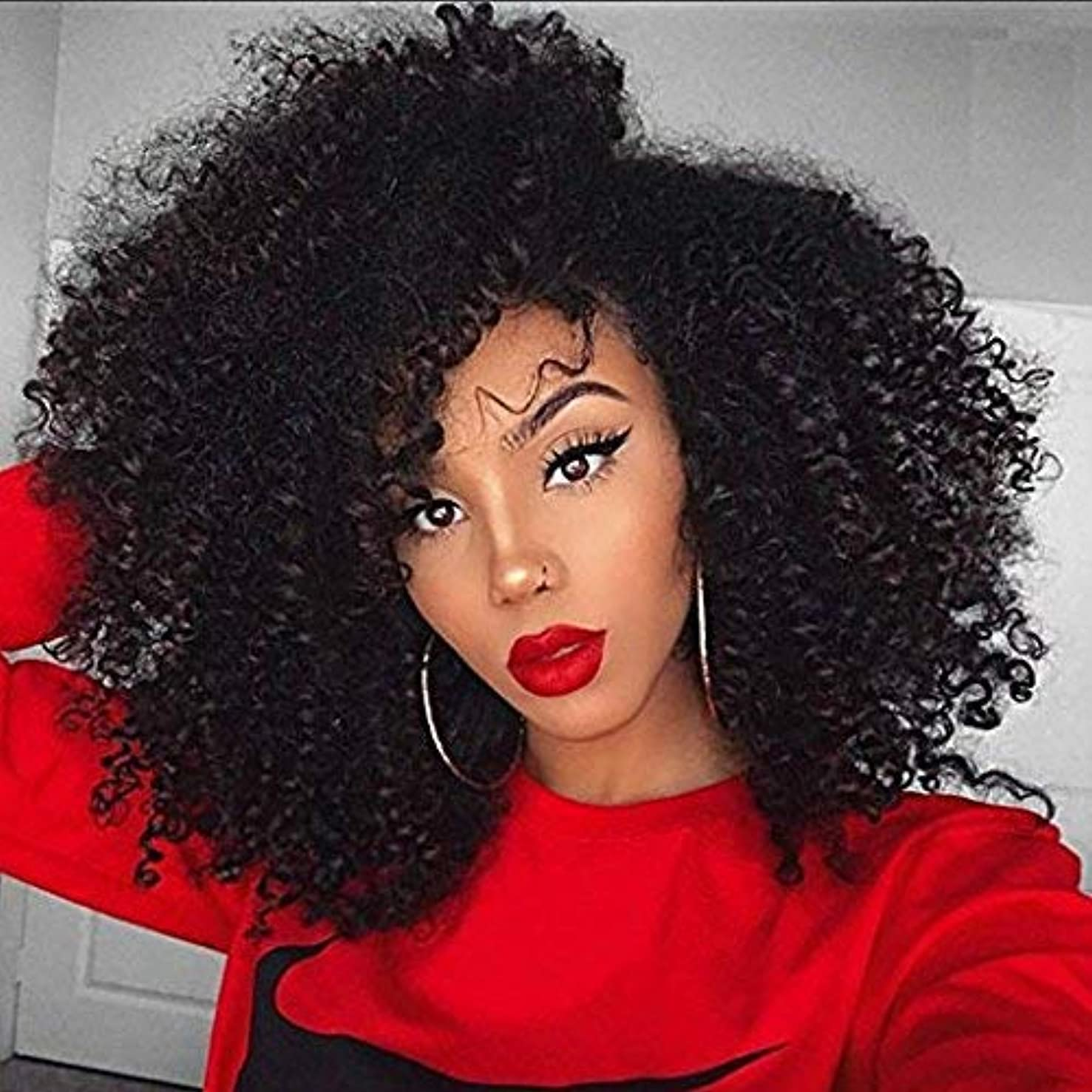 Natural Afro Kinky Curly Human Hair Body Wave 100% Real Hair Brazilian Hair Glueless Wigs 180 Density Natural Color from Dream Beauty for women (14 Inch, lace frontal wig)