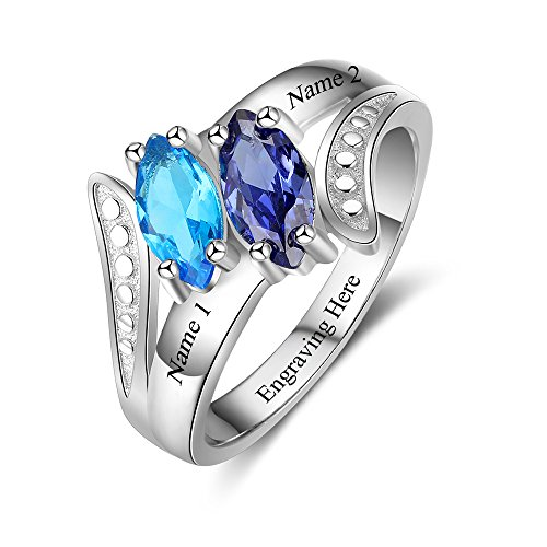 JewelOra Personalized Mothers 2 Simulate Birthstone Ring for Women Custom Engagement Promise Name Ring for Her (8)
