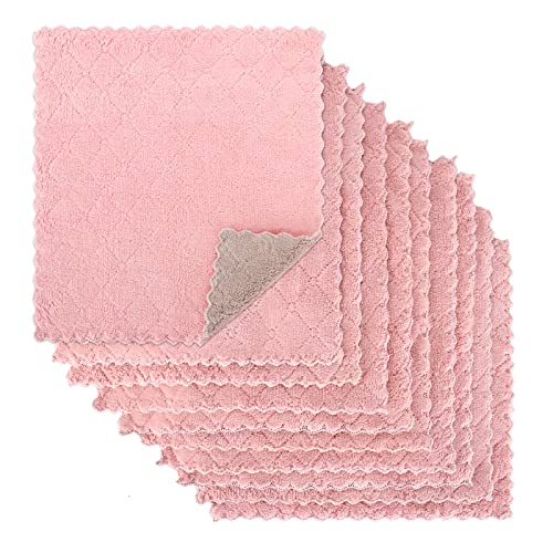 Kitchen Towels, Dish Cloths, High-Absorption Coral Dish Towels, Non-Stick Oil Wash, Quick-Drying 10 Pieces/Bag (Pink-Gray)