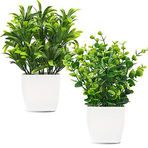 Whonline 2pcs Artificial Mini Potted Plants Fake Plastic Eucalyptus Leaves...
