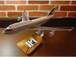 1/144 B747-400 CPA (U-HUJ) キャセイパシフィック航空 木製飛行機模型 (旅客機) ソリッドモデル