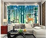 ZAMLE Benutzerdefinierte 3D-Fototapeten 3D-Wandbilder Tapete Wald Im Wald Elch 3D Stereo Wohnzimmer Hintergrund Wand Cartoon Wandbilder, 400X280 Cm (157.5 Von 110.2 In)