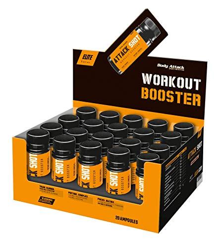 Body Attack - ATTACK SHOT ( 60ml), extrem hochdosierter Pre-Workout Booster mit Koffein, Beta-Alanin & L-Citrullin Pump-Effekt, für Sportler & Athleten, wirkt sofort, Made in Germany, Orange-Cola