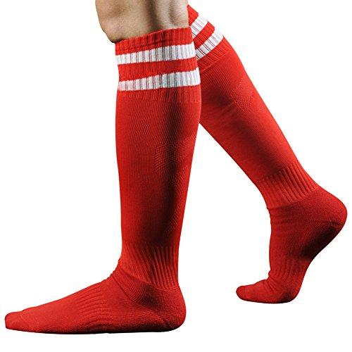 West See Männer Herren Socke Sportsocke Fußball Baseball Eishockey Kniestrümpfe (Rot)
