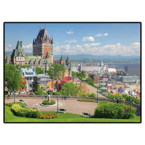 Bath Rugs Non-Slip Entry Rug Chateau Frontenac in The Old Quebec City 287861729 for Sofa/Living Room/Dining Room/Bedroom 6.5 x 8 Ft