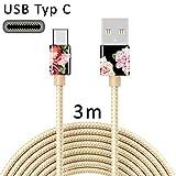 TheSmartGuard - Cavo USB C Tipo C per la Ricarica, in Nylon, con connettore USB-Type-C, Compatibile con Samsung S10/S9/S8, Huawei P30/P20, UVM, 3 Metri/3 m, Oro, Fiori, Rosa, Vintage