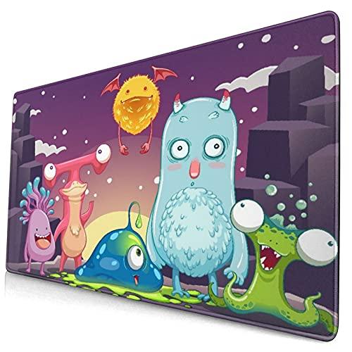 Grande Juego de Azar Alfombrilla de Ratón-75 x 40cm,Monstruos divertidos y felices en un paisaje galáctico abstracto,Alfombrilla de Teclado para el Cojín de Escritorio de la Computadora Portátil