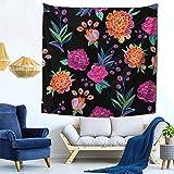 GLHT Tapiz vintage floral bordado caléndula México Tapices colgantes en la pared de flores psicodélicas para colgar en la pared de dormitorio indio decoración para sala de estar dormitorio 150 x...