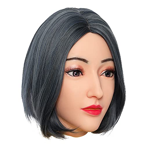 KUMIHO Silicone Female Mask with Realistic Head and Face Makeup for Crossdresser Transvestite Halloween Drag Queen