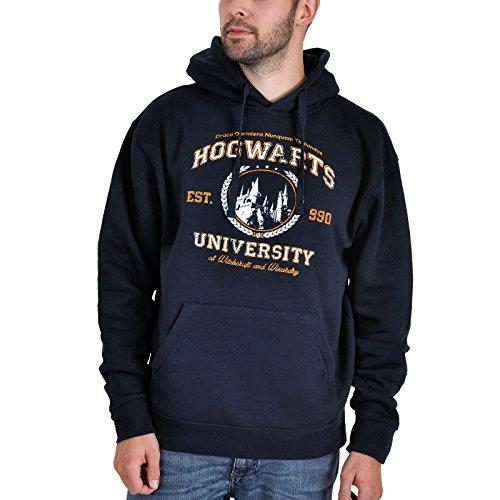 Elbenwald Hogwarts Magic University Fun Hoodie mit Kapuze für Harry Potter Fans, Damen und Herren Fanartikel Navy L