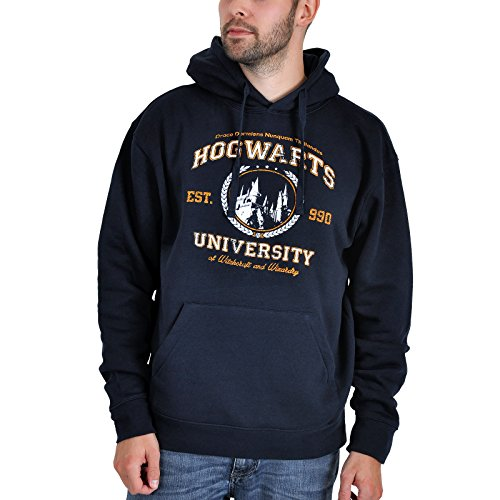 Elbenwald Hogwarts Magic University Fun Hoodie mit Kapuze für Harry Potter Fans, Damen und Herren Fanartikel Navy XXL