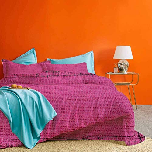 prunushome Magenta Bed Set Futuristic Design in Old Impressions Latex Grungy Murky Surface Pastel Colors Best Hotel Luxury Bedding Fuchsia Pink 3 Pieces (1 Duvet Cover and 2 Pillow Shams) Full Size