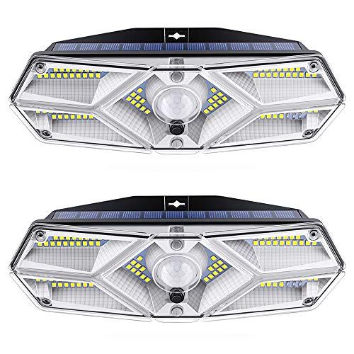 [2 Paquete] Luz Solar Exterior 104 LED, Luces LED Solares Foco Solar Potente con Sensor de Movimiento con 3 Modos de Iluminación Lámpara de pared Solar Impermeable Luces Solares Jardín