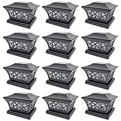 iGlow 12 Pack Black/Vintage Bronze 6 x 6 Solar Post Light SMD LED Deck Cap Square Fence Landscape PVC Vinyl Wood