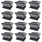 iGlow 12 Pack Black 6 x 6 Solar Post Light SMD LED Deck Cap Square Fence Outdoor Garden Landscape PVC Vinyl Wood