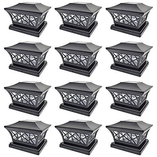 iGlow 12 Pack Black 6 x 6 Solar Post Light SMD LED Deck Cap Square Fence Outdoor Garden Landscape PVC Vinyl Wood