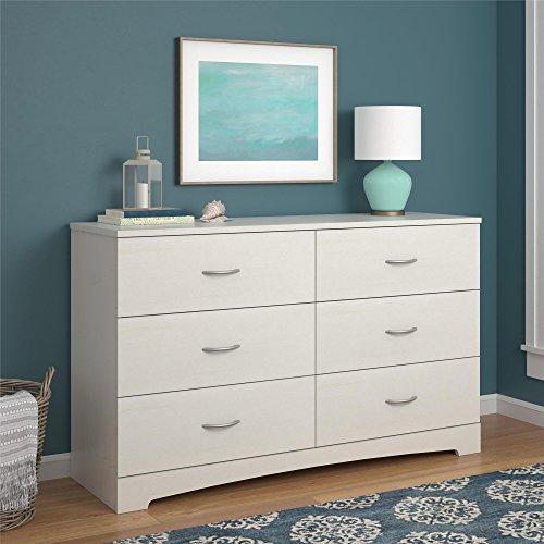 Ameriwood Home Crescent Point 6 Drawer Dresser, Vintage White