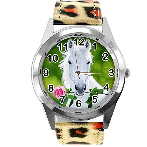 TAPORT Leopard Print Leder Runde Uhr für schöne Pferde Fans E3