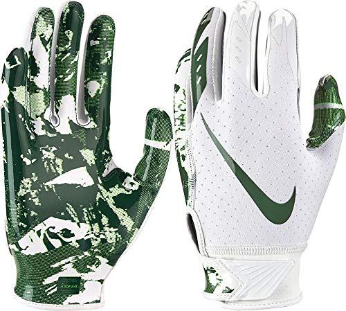 Nike Boy's Vapor Jet 5.0 Adjustable Wrist Closure Football Gloves (White/Dark Green/Large)