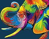FGHJSF Pintar por numerosElefante de Color Pintura al óleo de DIY por Números con Pinceles y Pinturas para Adultos Niños Principiantes Lienzo Pintura al óleo - 40 X 50 cm (Sin Marco)