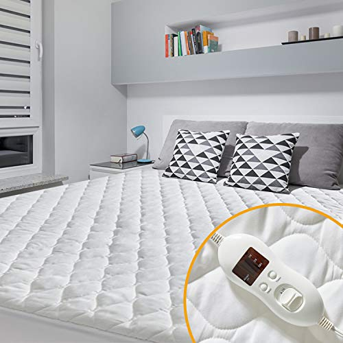 MAKATZ Heated Mattress Pad Full Size, 8-21' Deep Pocket Quilted Electric Mattress Pad with 8 Heat Setting Controllers
