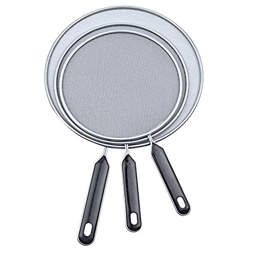 3 Pcs Grease Splatter Screen For Frying Pan Cooking, 7.5', 8.3',9.85' Stainless Steel Grease Splatter Guard, Super Fine Mesh Iron Skillet Lid, Hot Oil Shield to Stop Prime Burn for Kitchen Cooking