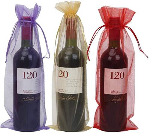 ABO Sacchetti per Bottiglie di Vino con Coulisse, 10 Sacchetti per Bottiglie 14 x 6 1/4 Pollici per Feste (Rosso), Organza Rosso Porpora Oro