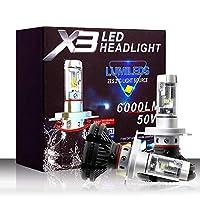 Yadianna【正規品】 5500Lm H4 / 9003 / HB2 LEDヘッドライト球根のHi / Loのビーム50W 6000K防水LEDヘッドライト付きスーパーブライトZESチップ2個車のライト