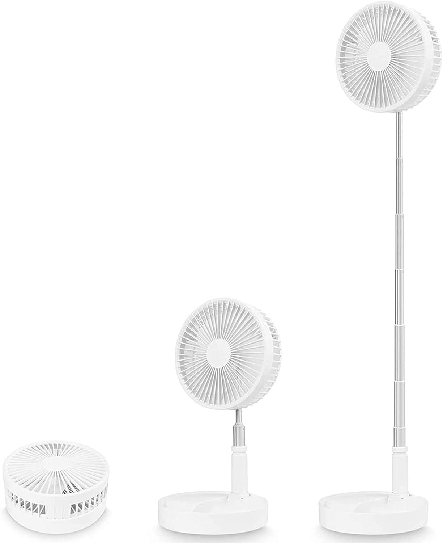 Ventilador de Pedestal Portátil - Ventilador de Pie Oscilante con Batería Recargable de 7200 mAh, Ventilador Personal USB Silencioso para la Oficina en Casa