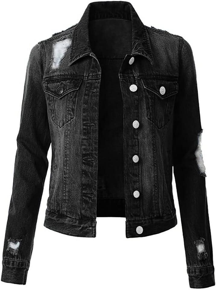 GELTDN Jeans Jacket and Coats for Women Denim Jacket Korean Style Solid Casual Jackets Autumn Plus Size Loose Jeans Coats Female (Color : Black, Size : L Code)