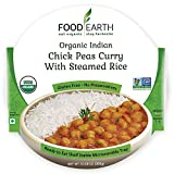 Food Earth -ORGANIC Ready to Eat Indian Meals (6-Pack) -Organic Indian Chick Peas Curry with Steamed Rice – 10.58oz Microwavable Tray, Non-GMO, Dairy Free, Gluten Free & Vegetarian Meal in 90 Seconds!