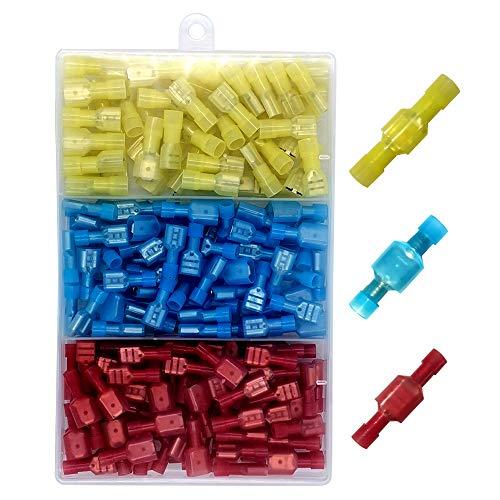 Gebildet 160pcs-Kabelverbinder, vollisolierte, männliche und weibliche Spaten Nylon-Schnelltrennkupplung Elektrische Crimp-kaltgepresste Klemmen-Sortiment
