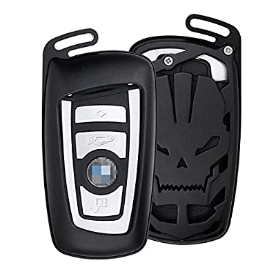 [MissBlue] Skull Design Aircraft Aluminum Key Fob Cover For BMW Remote Key, Protector Case Fits BMW 1 2 3 GT 4 5 6 Series X3 X4 M2 M3 M4 M5 M6 Car Key, Unisex Leather Key Fob Keychain Key Fob Holder