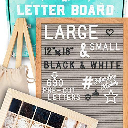 Filz-Briefbrett, spezielles Geschenkpaket, beinhaltet: 690 Buchstaben/Zahlen/Zeichen (340 7,6 cm/10,2 cm + 350 2,5 cm), Sortierablage, Brieftasche, Briefständer, Geschenkbox. Rahmen aus Eiche grau
