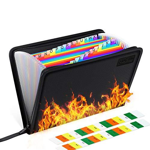 ABC life Feuerfeste Dokumententasche 24Taschen - Expanding File Folder Tragbare feuerfeste Accordion Document Organizer Datei A4 mit feuerfesten Reißverschluss für Vertra Pässe,Wertsachen