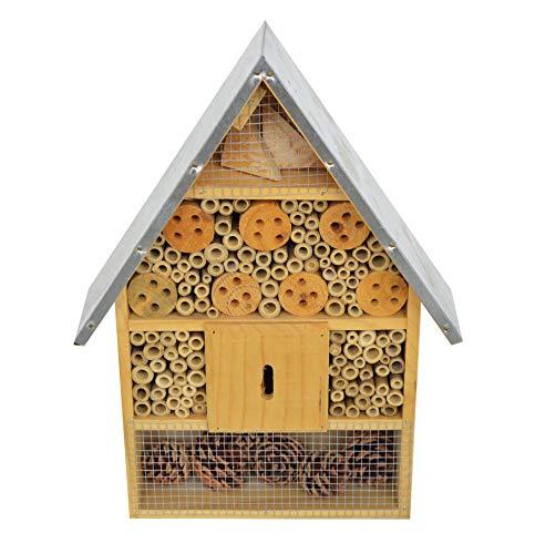 KH XL Insektenhotel naturbelassen aus Holz Insekten Hotel für Bienen Wildbienen Marienkäfer Fliegen Schmetterlinge Hummeln Fluginsekten Bienenhaus - fertig montiert - kein Bausatz
