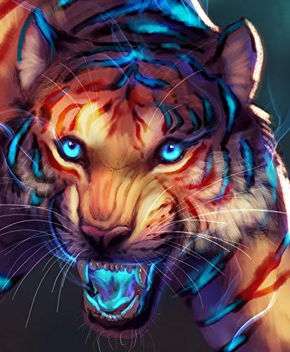 LYWUSUZE Erwachsener Puzzle 1500 Teile Aus Holz Puzzle Leuchtender Tiger Personalisierung Erwachsener Spiel Kind Spielzeug Kreatives Geschenk Art Zuhause Dekoration