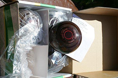 Drakes Pride Indoor Bowls Biassed Teppich braun mit bunten Ringe, Set mit 2 Paar Blue rings Red rings