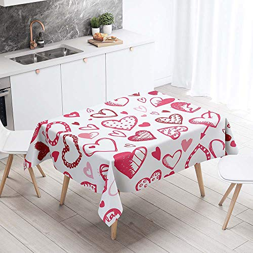 Mantel para Mesa Impermeable Antimanchas, Chickwin Estilo Nórdico Romántico Cocina Comedor Rectangular Resistente al Desgaste Lavable Mantel de Poliéster (Corazón,100x140cm)
