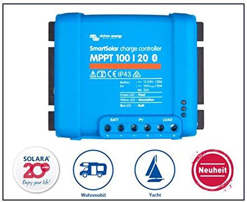 Premium Set Victron Smart Solar MPPT 100/20 Laderegler für Wohnmobil und Yacht, inkl. Bluetooth