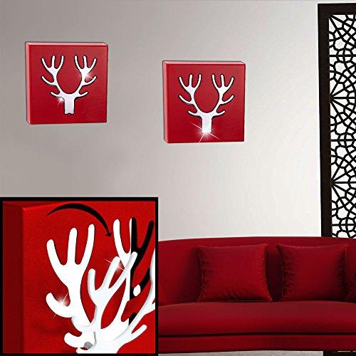 etc-shop 2er Set Wand Garderoben Hirsch Geweihe Chrom Bild Dekorationen rot