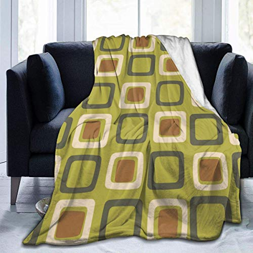 Allures Mid Century Modern Squares Chartreuse Throw Blanket Soft Flannel Fleece Blanket for Couch,Bed,Sofa,Chair Office,Travel,Camping,Modern Decorative Warm Blanket50*40