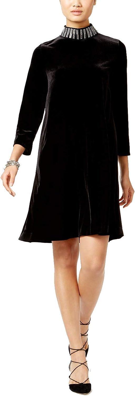 Alfani Velvet Embellished MockNeck Dress