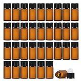 Enslz Lot de 50 mini flacons vides rechargeables en verre ambré pour échantillons d'huiles essentielles, marron, 3ml,