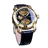 Winner Royal Retro Design - Reloj de pulsera para hombre, diseño de esqueleto dorado